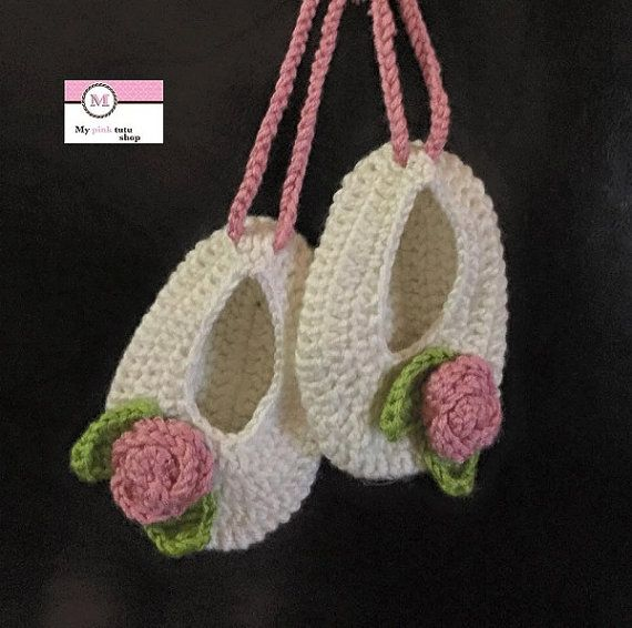 Crochet Shoes, White Crochet Ballerina, Little Girl Baptism shoes, Gift for babies, Cotton Shoes for baby
