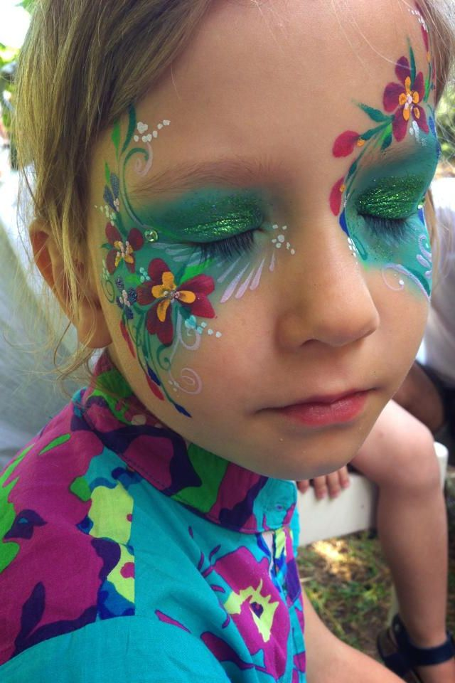 Beautiful colourful flower face painting