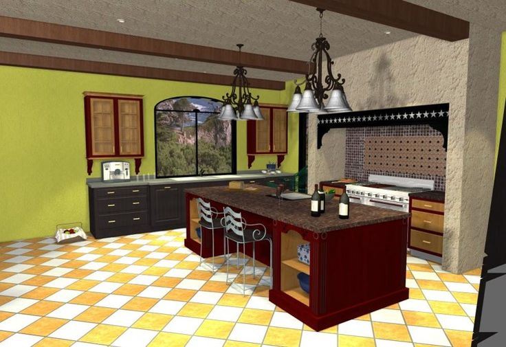 Mediterranean style kitchen with furniture piece cabinets and cooking hearth