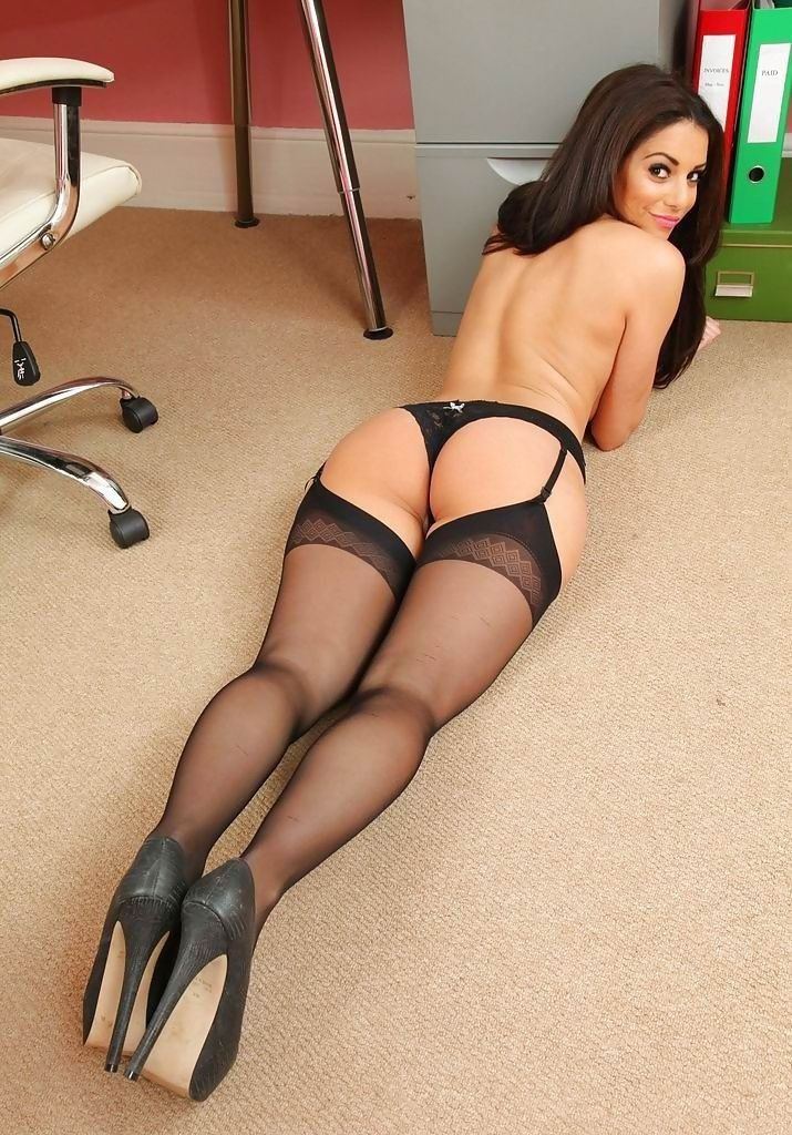 The expert, sexy legs in black nylons all