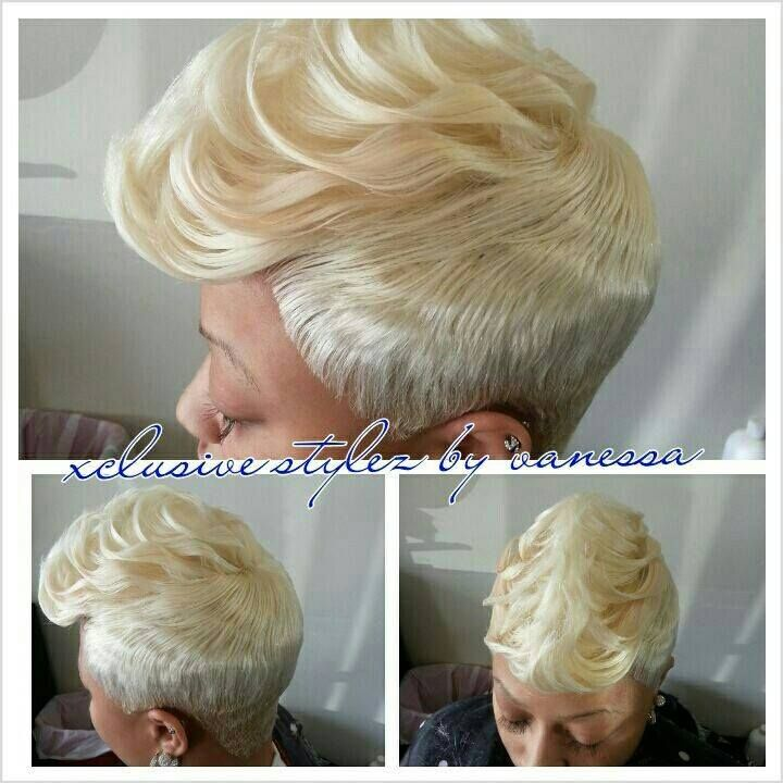 Platinum Blonde Pixie Cut Different Shades Of Ebony Hair