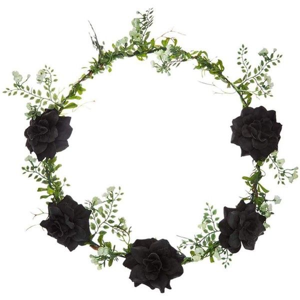 TOPSHOP **Winter Flower Garden Headband by Orelia (38 AUD) ❤ liked on Polyvore featuring accessories, hair accessories, black, floral crown, black flower crown, flower crown, black hair accessories and crown headband