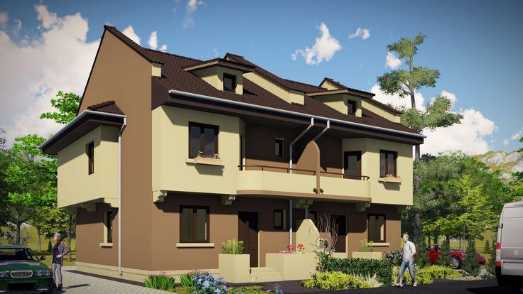 Case cuplate in oglinda- Vedere zona acces principal | Duplex single-family homes | Etichete: case economice, proiecte case mici, proiecte case eficiente, proiecte case pentru doua familii, proiecte case pentru doua generatii