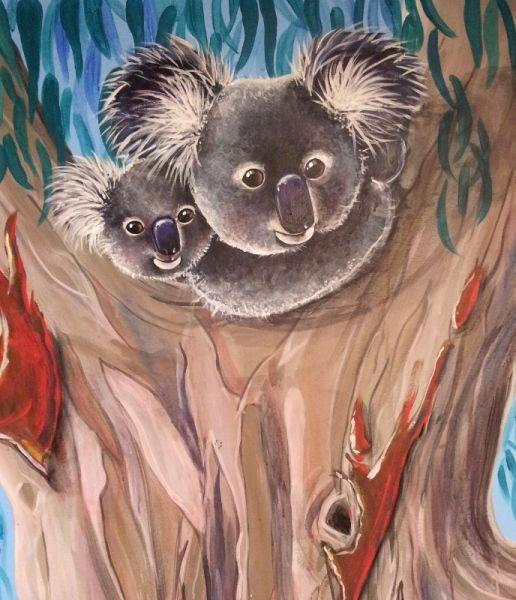 Mother & baby Koala's from GUM TREE MURAL by Australian Artist Selinah Bull http://www.selinahbull.com