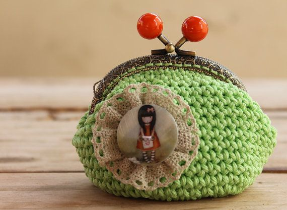 Coin Purse  Vintage Style  Green Apple purse  by LiveFashion