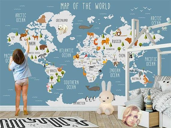 Kids World Map Wallpaper Wall Murals, Animals Kids Children Wall Stickers Wall Decals, Cartoon World