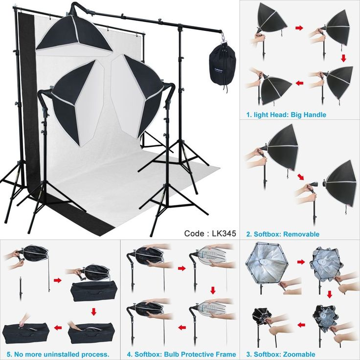 Photography Studio Lighting Softbox Photo Light Muslin Backdrop Stand Kit | Cameras & Photo, Lighting & Studio, Continuous Lighting | eBay!