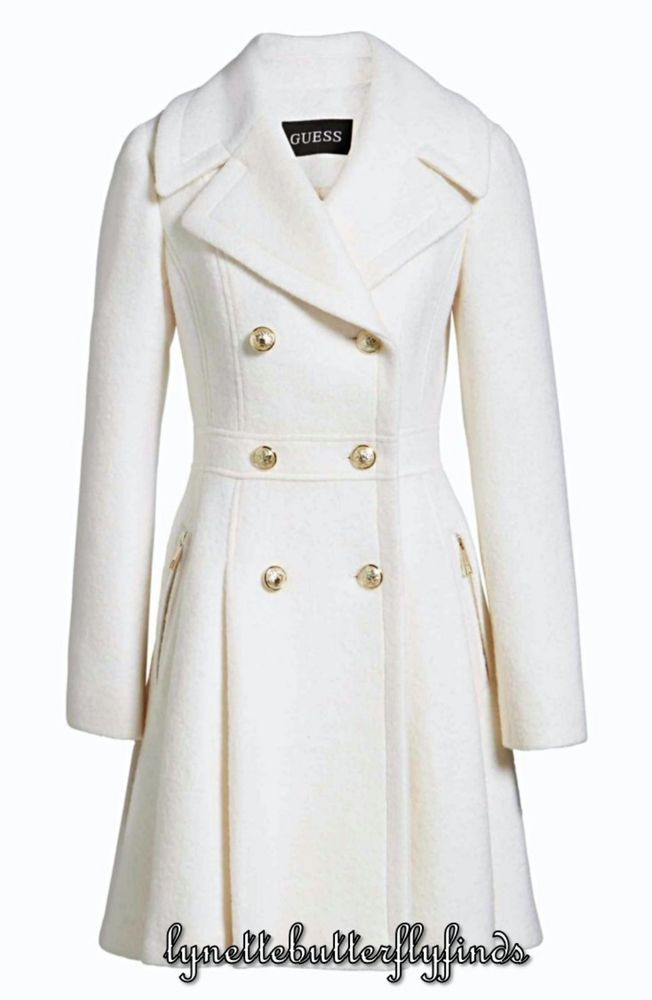 Details About Guess Black Amp White Wool Blend Short Coat