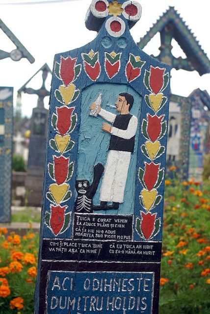 """""""The Merriest Cemetery in the World,"""" in the village ofSăpânţa, Romania"""