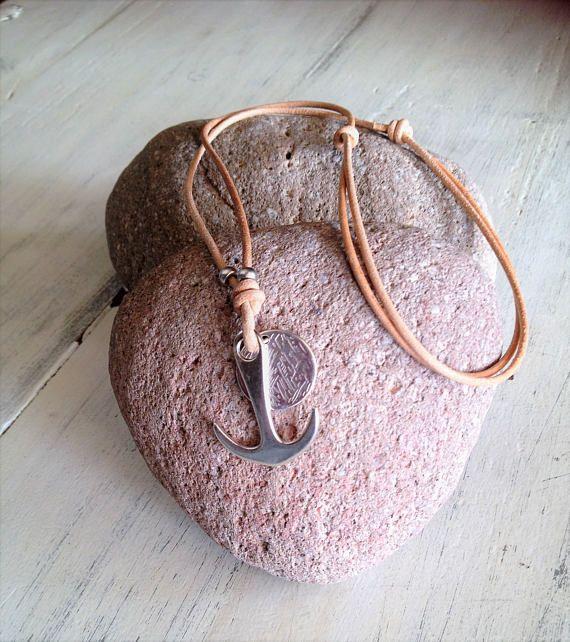 Mens anchor necklace. silver anchor pendant,mens leather anchor necklace,mens silver jewelry,boyfriend gift,leather pendant,unisex necklace