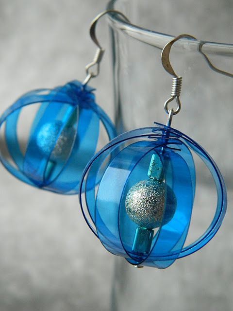 Recycled Plastic-Earrings made from plastic bottle
