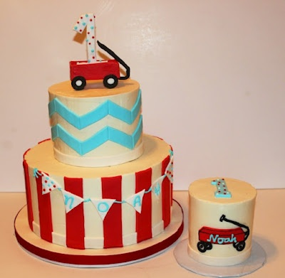 Red wagon cake and smash cake