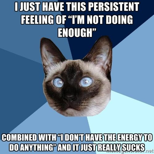 I just have this persistent feeling of I'm not doing enough combined with I don't have the energy to do anything and it just really sucks... Chronic Illness is a vicious cycle.