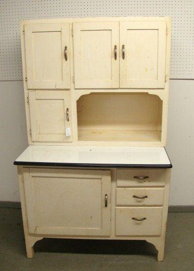 Vintage Kitchen Hoosiers | Vintage White Hoosier Kitchen Cabinet Cupboard RESERVED  FOR MICHELE O.