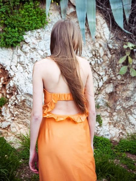 Sunset silk blend cocktail dress with fabulous open back.