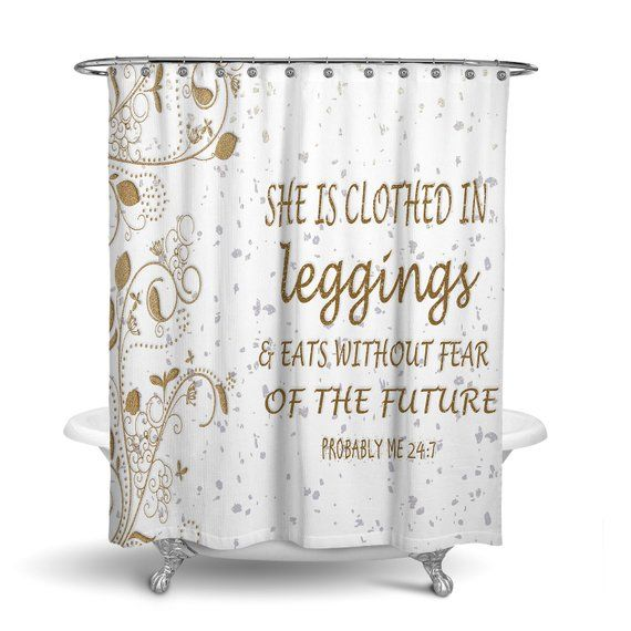 White And Gold Shower Curtain Chic Bathroom Decor Funny Saying