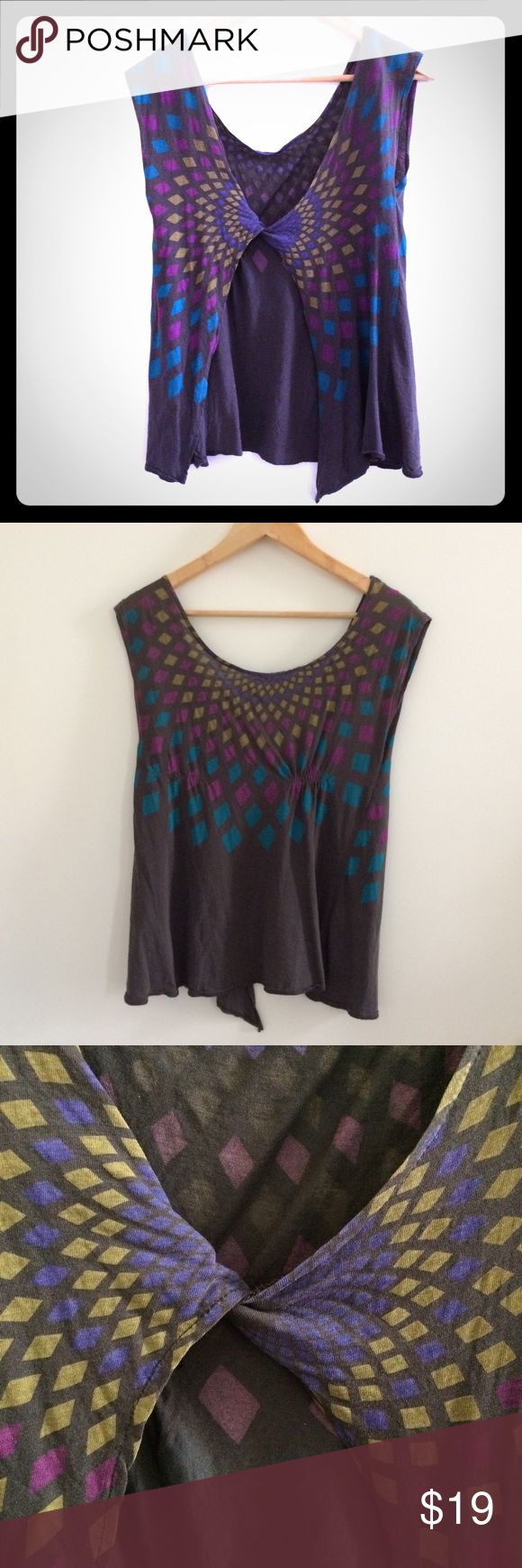 French Connection open back top geometric print Cute worn-in soft tee with an open back. Size S. Normal wear, with a tiny, almost invisible hole as pictured. French Connection Tops Tees - Short Sleeve