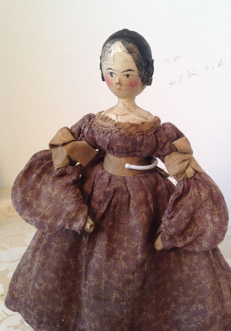 Mid 19thC Grodnertal wooden doll from dollyweatherwax on Ruby Lane