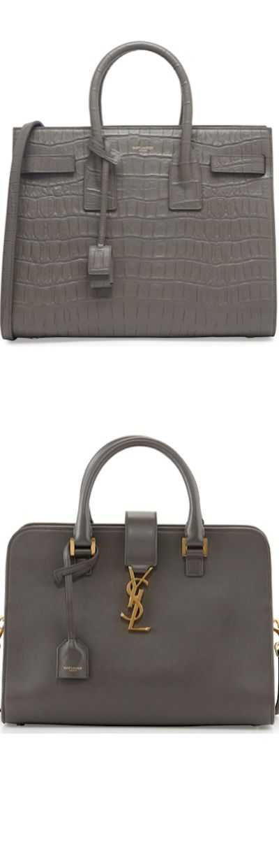 Saint Laurent ~ Sac de Jour Croc-Print Carryall Bag, Gray and Saint Laurent ~ Monogramme Small Zip-Around Satchel Bag, Gray