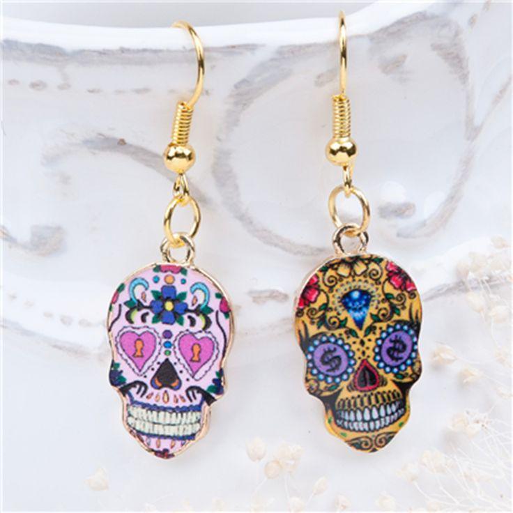 "8SEASONS New Fashion Earrings Gold Plated Multicolor Halloween Sugar Skull Pattern 41mm(1 5/8"") x 13mm( 4/8""), 1 Pair"