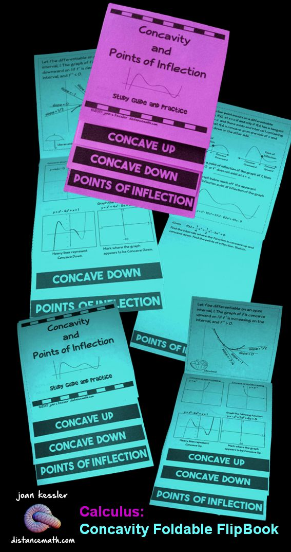 Calculus Concavity and Points of Inflection Foldable Flipbook Engaging Activity. This Flip Book reinforces Concavity and Points of Inflections usually taught in Unit 3, Applications of the Derivative. There are definitions, formulas, examples, and problems for students to complete plus 2 challenge problems on the back which is great for differentiation and early finishers. This makes a great study guide.