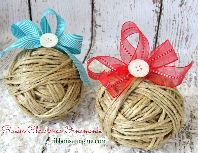 Simple handmade Rustic Christmas Ornaments made from Hemp Cord, May Arts Ribbon and Button Galore buttons. #styrofoam