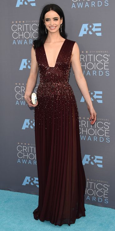 Critics' Choice Awards: Red Carpet Looks You Need to See | People - Krysten Ritter in a burgundy beaded Zuhair Murad dress