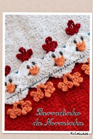 Crocheted chicken edging free pattern