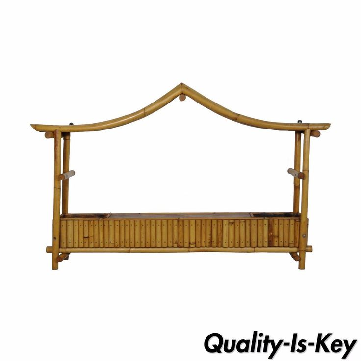 details about vintage chinoiserie hollywood regency pagoda rattan bamboo wall hanging planter