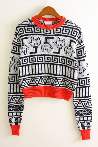 Contrast Geometric Graphic Cropped Sweater OASAP.com