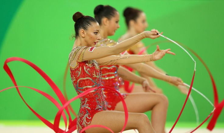 The Bulgaria team compete in the Women's group all-around qualifying event of the Rhythmic Gymnastics at the Rio Olympic Arena during the Rio 2016 Olympic Games in Rio de Janeiro on August 20, 2016 in Rio de Janeiro, Brazil.