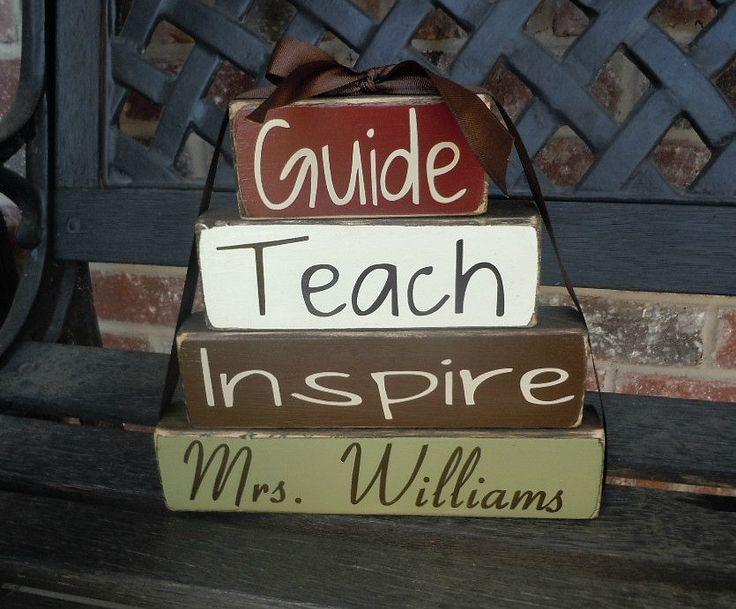 Teacher appreciation wood blocks-personalized blocks-teacher gift. $17.00, via Etsy.
