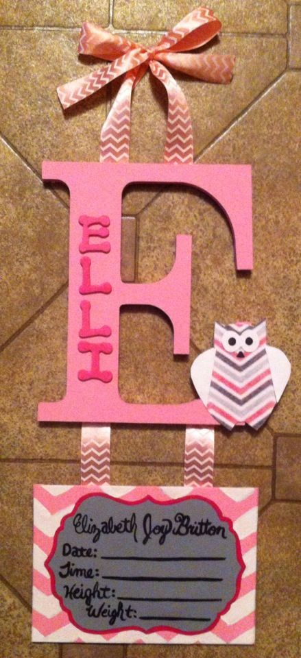 Pink and grey chevron owls welcome baby initial hospital hanger. Personalized Homemade Nursery decor Wall letters kids door signs birth info plaques crib mobiles canvas art family name door hangers by Billie Landers Bamland Designs Charleston WV PayPal accepted. Mailing available. Come LIKE my page on Facebook http://m.facebook.com/BamlandDesignsCustomNurseryWallLettersMore