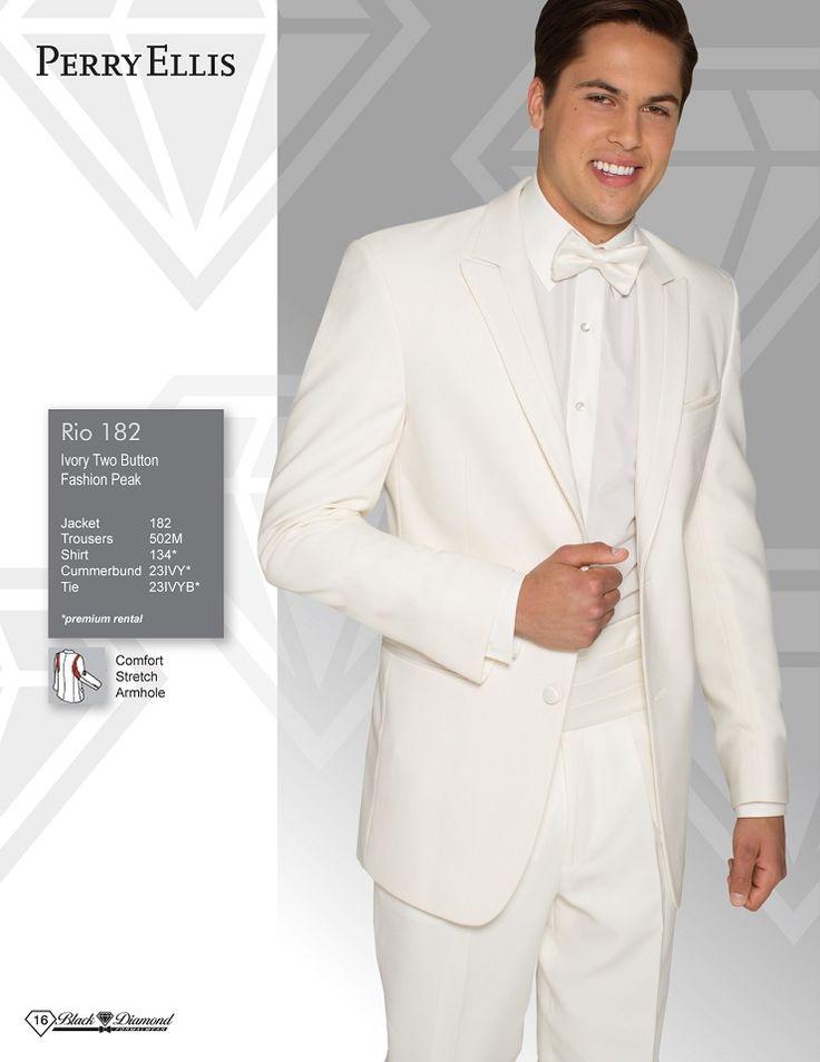 Perry Ellis Rio Ivory Two Button Fashion Peak