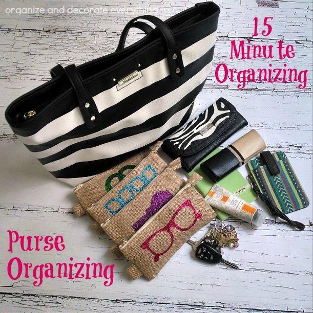 Purse Organizing - Organize and Decorate Everything #31days #15minuteorganizing