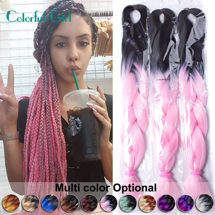 FALEMEI 24Inch 6Packs Ombre Two Tone Kanekalon Jumbo Braiding Hair High temperature wire synthetic afro Expression braid hair