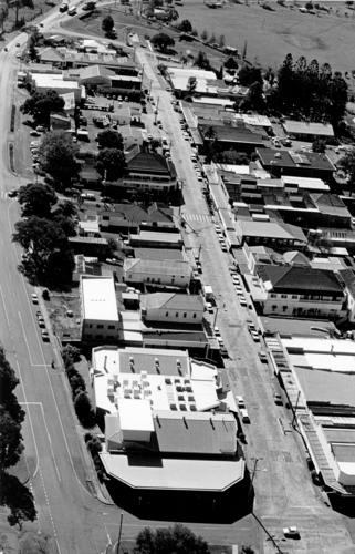 Aerial view of the Boonah Business Centre, looking north, 1988.