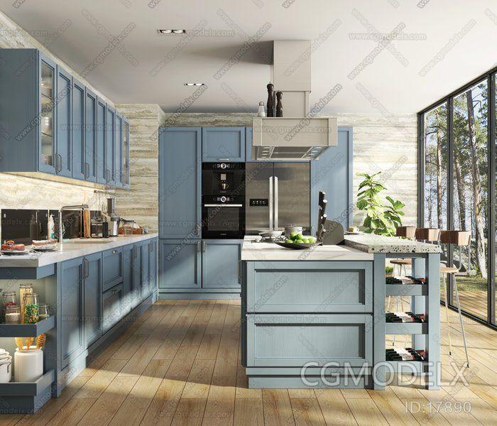 Abroad Contemporary Kitchen 3d Model Interior Design Ideas Kitchen