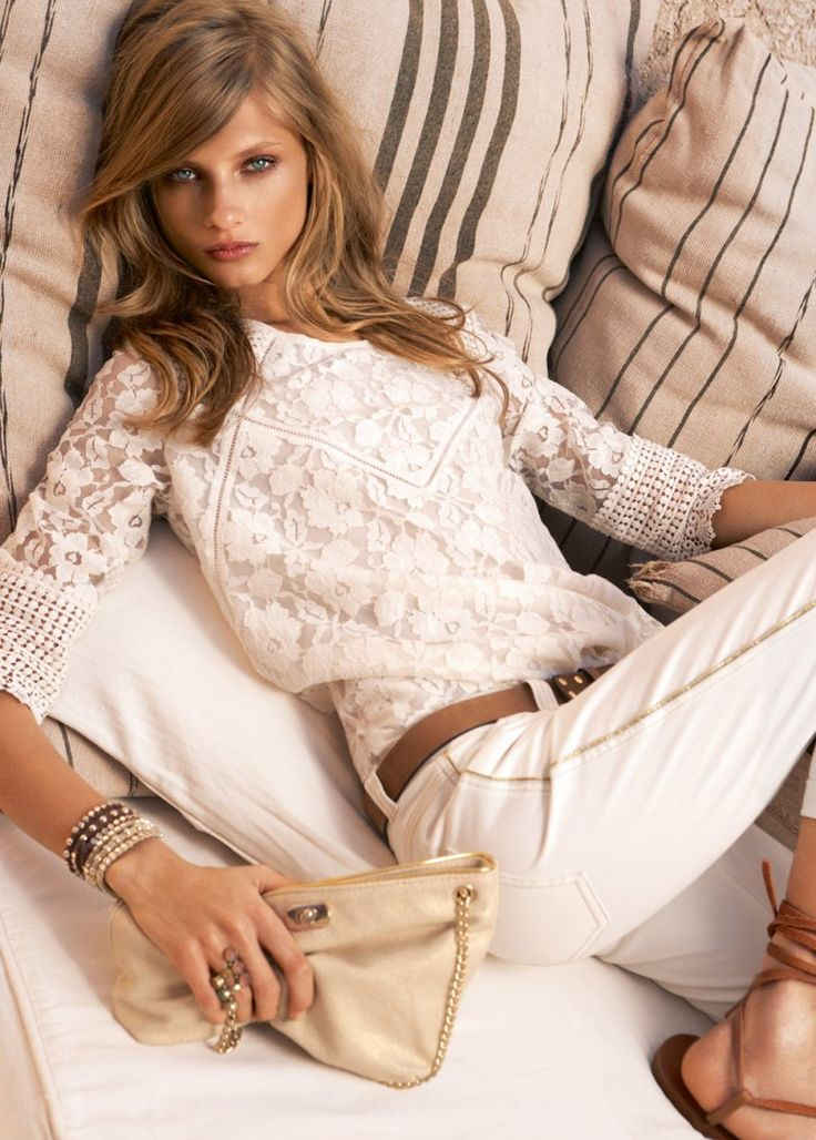 hair: Summer Collection, Hair Colors, Lace Blouses, Style, White Outfits, White Pants, White Lace Tops, White Jeans, Give Selezneva