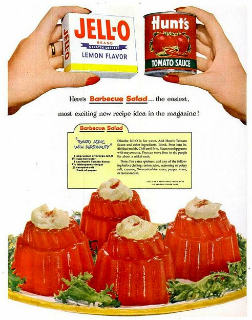 Barbeque Jell-O Salad... With mayonnaise bonus! They're trying so hard to convince you it will work, bless their hearts.
