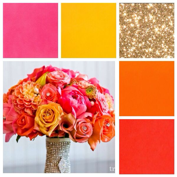 Gold coral pink orange yellow bright happy wedding colors  Definitely what  I envision for myselfBest 20  Pink orange weddings ideas on Pinterest   Orange and pink  . Orange And Lime Green Wedding Theme. Home Design Ideas