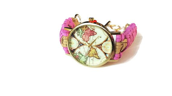 World map watch women World watch pink Faux leather watch