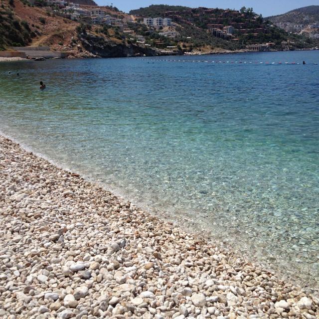 Pebble beach in Kalkan, Turkey.