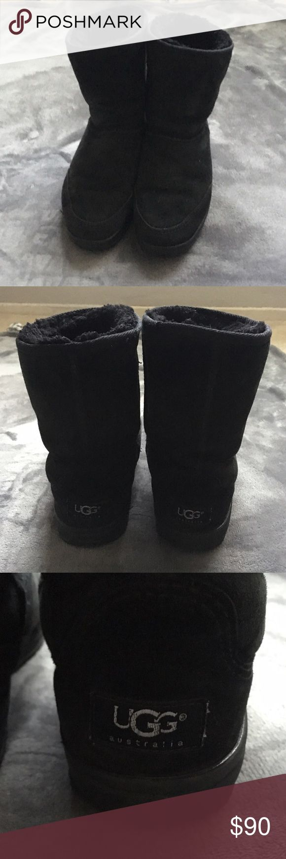 Black Ugg Boots Black Ugg Boots, flaws are pictured they are still in great condition but have normal signs of wear and tear, the bottoms of the boots are in great condition and show that they still have plenty of life left UGG Shoes Winter & Rain Boots