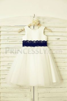 Ivory Satin Tulle Flower Girl Dress with navy blue Lace sash