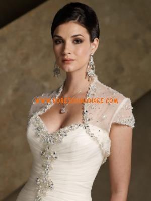Rina di Montella belle robe de mariée évasé avec boléro décorée de cristal organza Style RB11080
