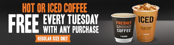 FREE Regular Coffee, Iced Coffee or Coffee Melt with Any Purchase on Tuesdays @ 7 Eleven - http://sleekdeals.co.nz/deals/2017/3/free-regular-coffee,-iced-coffee-or-coffee-melt-with-any-purchase-on-tuesdays-@-7-eleven.aspx
