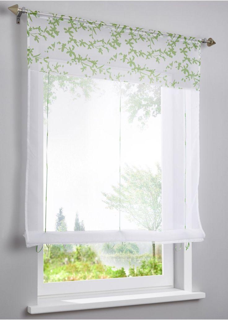 """Jetzt anschauen: Luftig-leichte Fenstergestaltung: das Bändchenrollo """"Daria"""" ist vollflächig mit einem schönem Blumenranken-Motiv bedruckt und wertet im Handumdrehen Ihre Fensterfront auf.  Das Bändchenrollo ist lichtdurchlässig und besteht aus transparentem Stoff in leichter Voile-Qualität."""