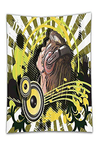 Chaoran Tablecloth Music Decor Collection Abstract Illustration of a DJ Disco Headphone Dance Striped Background Image Print Green Holiday Home Decorative