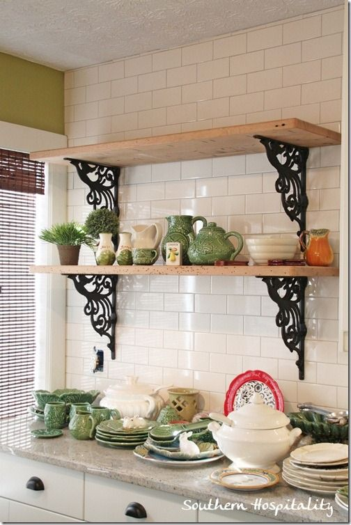 rustic shelves in kitchen (love!)   http://www.sa1969.com/iron-brackets-c50/